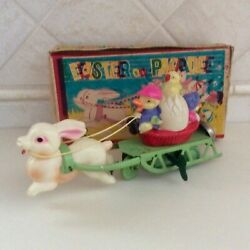 1940's Celluloid And Tin Easter Parade Chicks/rabbit Key Wind-up Toy With Box