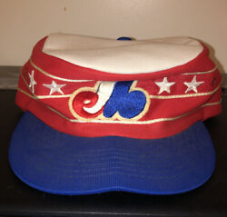 Vintage Montreal Expos Flat Top Conductor Baseball Cap Hat Beco Htf