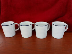 Crate And Barrel Roulette Spal Porcelain New 4 Coffee Mugs Blue Rim White Ribbed