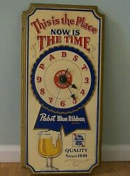 Pabst Blue Ribbon Beer Sign Vintage 1979 Wall Clock Milwaukee Brewery -works