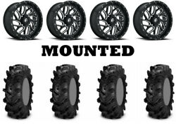 Kit 4 Itp Cryptid Tires 34x10-18 On Fuel Triton Gloss Black Wheels Can