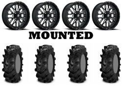 Kit 4 Itp Cryptid Tires 34x10-18 On Fuel Stroke Gloss Black Wheels Can