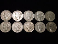 1923 P-d-s Peace Silver Dollars 1/2 Roll 10 Coins Vf-xf L1