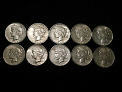 1923 P-d-s Peace Silver Dollars 1/2 Roll 10 Coins Xf+ - Au L3