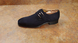 New Magnanni 'marco Ii' Monk Strap Loafers Navy Blue Suede Mens 9.5 M Msrp 375