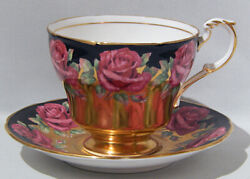 Very Rare Paragon Johnson Red Rose Cup And Saucer Gold Burnished And Black Color