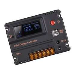 Ghb 20a 12v 24v Solar Charge Controller Auto Switch Lcd Intelligent Panel Bat...