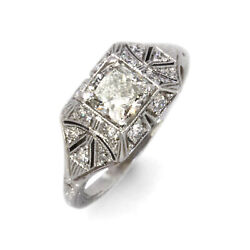 1.25 Ctw Natural Diamond Solid 14k White Gold Edwardian Style Engagement Ring