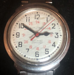 Vintage Bulova Accutron Railroad Approved Stainless Steel Working Mens Watch