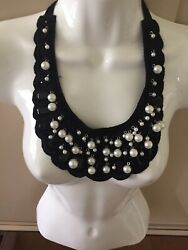 Black Fabric Neck Collar With Faux Pearls And Beads...ties To Your Own Top