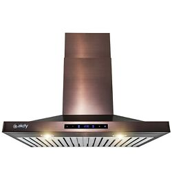 30 In. Convertible Wall Mount Copper Stainless Steel Kitchen Range Hood