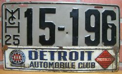 Detroit Automobile Club Old Vanity Plate Topper Sign And 1925 Mich Michagan 15-196