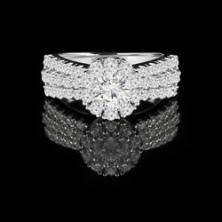Coupe Ronde 1.40 Ct Vrai Diamant 14 K Or Blanc Femme Fianandccedilailles Taille Bague 6