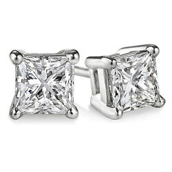 Princess Cut 1.00 Ct Real Diamond Solid 14 K White Gold Solitaire Ladies Studs