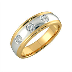 Natural Diamond 0.20ct Engagement Rings 14k Double-tone Gold Mens Bands Size 11