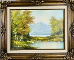 Phillip Cantrell Vintage 1970s Michigan Woodland Lake Landscape Oil On Canvas