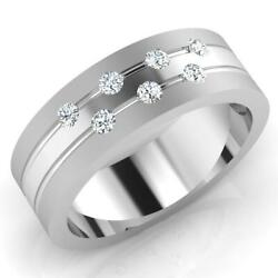 0.21 Ct Round Cut Diamond Engagement Mens Band 14k Solid White Gold Size S T