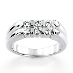 Natural Diamond 0.60 Ct Engagement 14k White Gold Rings Mens Band Size 9