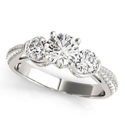 Round 1.38 Ct Women Real Solitaire 950 Platinum Diamond Engagement Ring Size 6