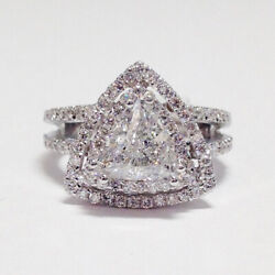 Round 1.30ct Women Real Solitaire 950platinum Diamond Engagement Ring Size 7