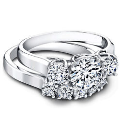 Round 950 Platinum 1.50ct Women Real Solitaire Diamond Engagement Band Size 6
