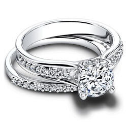 Real Diamond Round 950platinum 1.50ct Women Solitaire Engagement Band Size 8