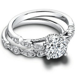 Real Round 950 Platinum 1.50ct Women Solitaire Diamond Engagement Band Size 8