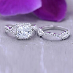 Cushion Moissanite 14k White Gold 3.20 Ct Solitaire Women Engagement Band Size 6
