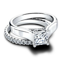 Princes Moissanite 14k White Gold 1.55 Ct Engagement Solitaire Women Band Size 6