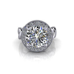 Solitaire Round Cut 14k White Gold 2.84ct Moissanite Women Engagement Ring