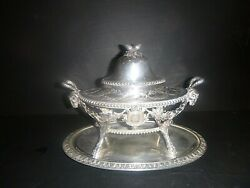 Antique 19th C Prevost Recipon And Cie Silver Serving Tureen Lamp Mark Stamp 8533