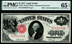 1917 Fr.37a 1 One Dollar Red Seal Legal Tender Note Pmg 65 Epq Andbull Scarce Pop 8/5
