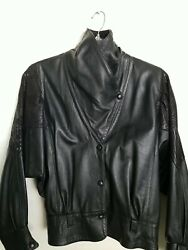 Vintage 1980and039s Leather Jacket Embossed Bat Sleeves Made In England Buttery Soft