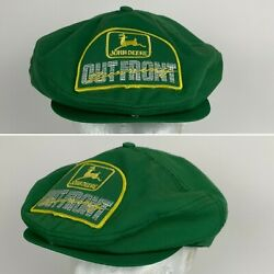 Vintage John Deere Patch Newsboy Style Snapback Hat Cap Jd Out Front Running
