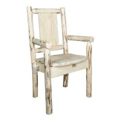 Montana Woodworks Wood Captain's Chair With Engraved Bronc In Natural