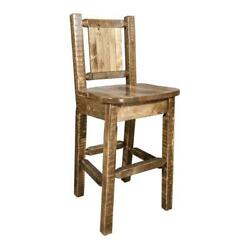 Montana Woodworks Homestead 24 Wood Barstool With Bronc Design In Brown
