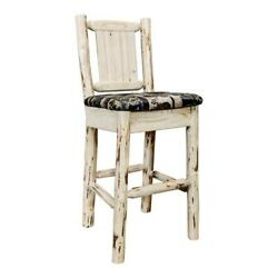 Montana Woodworks 30 Wood Barstool With Back And Engraved Bronc In Natural
