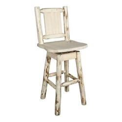 Montana Woodworks 30 Bronc Design Wood Swivel Barstool With Back In Natural