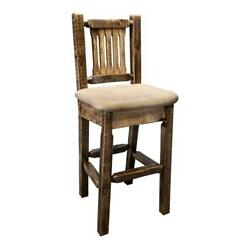 Montana Woodworks Homestead 24 Counter Height Wood Barstool With Back In Brown