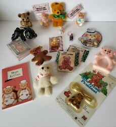 Vintage Lot Of Bear Ornaments, Knick Knacks, And Crafts. Fuzzy Wazzy Department 56