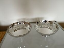 Pair Of Pierced Silver Plated And Footed Bowls 3 Tall X 8.25 In Diameter On A