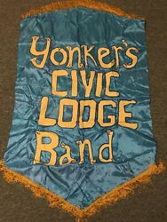 Yonkers Civic Lodge Band Theatre Prop Banner Paint On Fabric 33 X 50