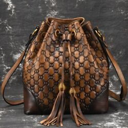 Luxurious New Women#x27;s Bags Bucket Genuine Leather Vintage Letter String Cowhide $171.08