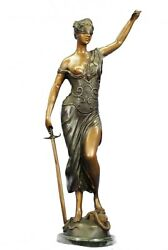 36 Bronze Sculpture Blind Lady Scale Justice Lady Of Justice Signed A.mayer