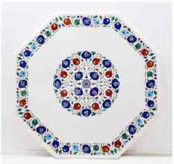 24 White Marble Table Top Center Coffee Inlay Lapis Decor Antique Mosaic H12