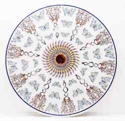 30 Antique White Marble Table Top Center Coffee Inlay Round Decor Mosaic H16