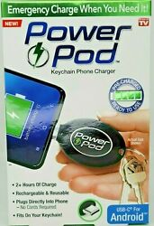 Power Pod Keychain Phone Charger Usb-c For Android 2+ Hours Of Charge