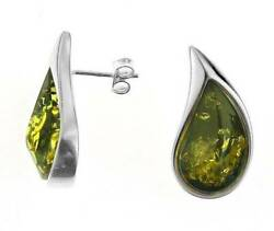 Silver Drop And Curved Teardrop Green Amber Stud Earrings