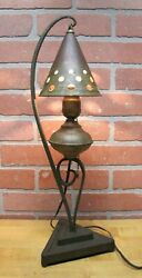 Arts And Crafts Gothic Lamp Hammered Iron Base Tin Shade Old Green Paint Swirling