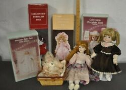 Lot Of 7 Vintage Collectable Porcelain Dolls- Some New In Boxes, Some Musical